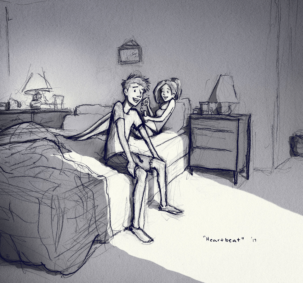 Husband wife on bed sketch