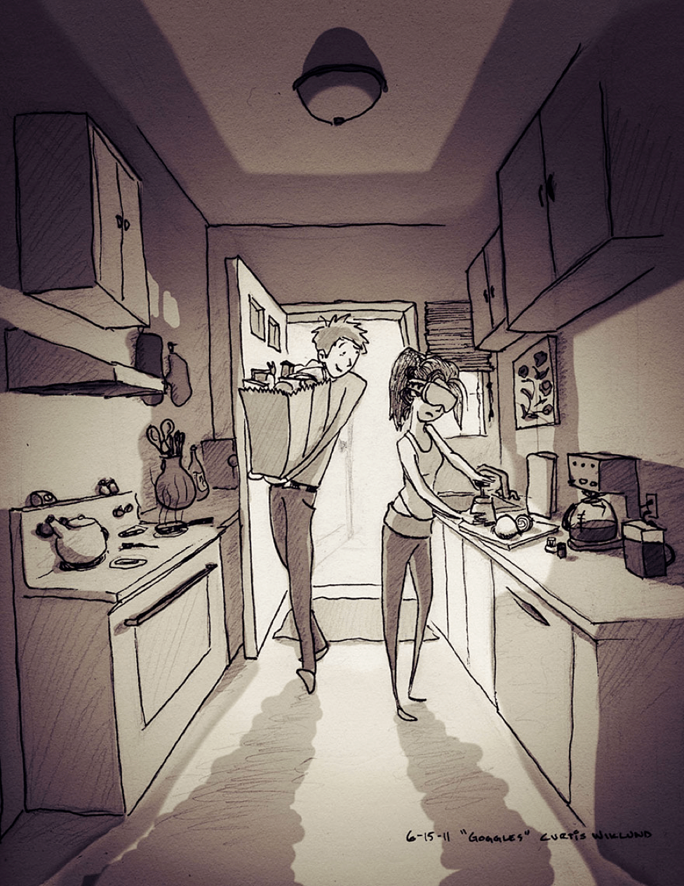 Husband wife in kitchen sketch